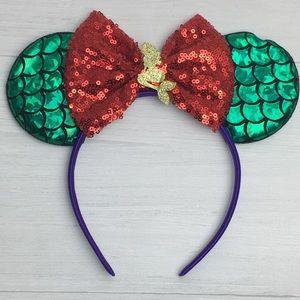 Disney Little Mermaid Ariel Ears Red Bow